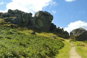 Cow and Calf Rocks at Ilkley in Yorkshire